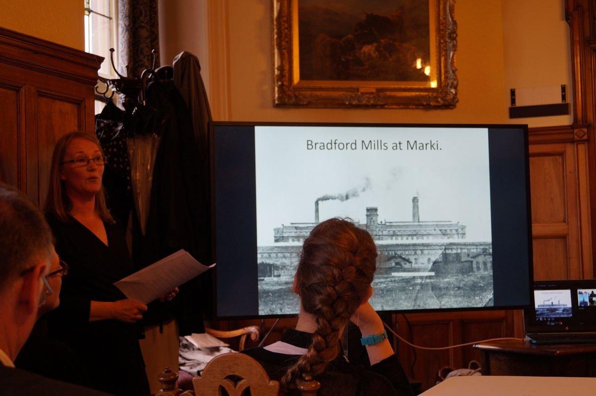 Prezentacja dr Sary Dietz o fabryce Briggsów w Markach, Ratusz Bradford, 12 kwietnia 2016 r.