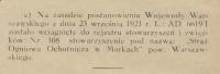 OSP Marki. 1921. rejestracja