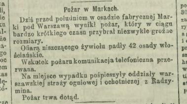 OSP Radzymin uczestniczy w gaszeniu pożaru w Markach -1903 rok