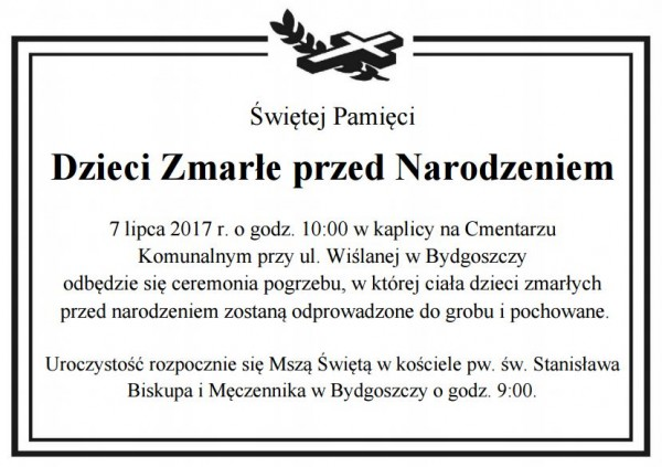 Bydgoszcz pogrzeb dzieci nienarodzonych nekrolog Lipiec 2017