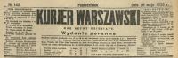 Kurjer Warszawski. R. 110, 1930, nr 142, wydanie poranne, p0001-sel
